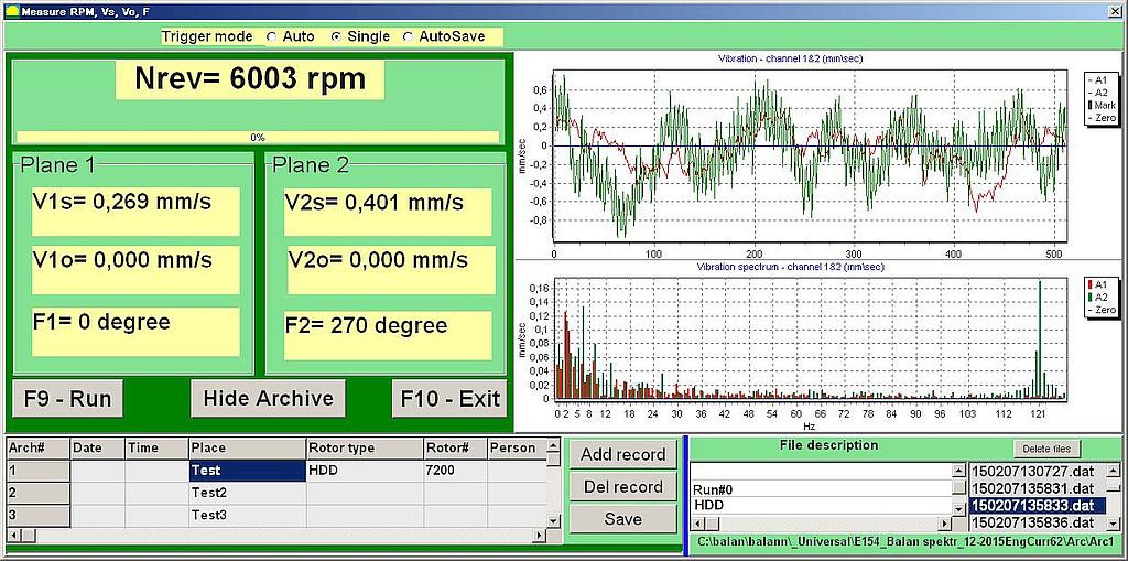 Прибор Балком-1 - спектральный анализ вибрации, графики временной функции и спектра